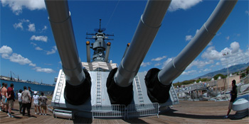 Part of panoramic view of USS Missouri, in Pearl Harbor, Hawaii